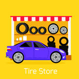 Tire Store Automobile Flat Concept Royalty Free Stock Photo