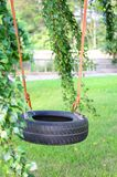 Tire swing. Car tire used as kids swing on trees in the garden Stock Photo