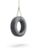 Tire swing. 3D Tire swing over white background Royalty Free Stock Photo
