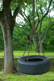 Tire Swing. A tire swing hanging from a tree stock photography