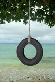 Tire swing. An old tire swing in the south pacific hangs from a tree on a beautiful tropical beach Royalty Free Stock Photography