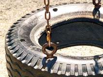 Tire Swing. Close up of a tire swing with no children swinging royalty free stock photos