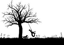 Tire_swing_BW Lizenzfreies Stockbild