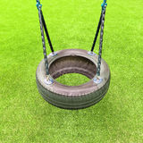 Tire swing on green grass background Royalty Free Stock Images