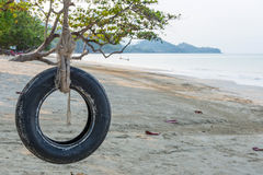Tire swing under tree on ocean beach Royalty Free Stock Photo