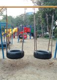 Tire Swings Hanging in The Playground Royalty Free Stock Photography
