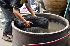 Tire testing in the water. Royalty Free Stock Photography