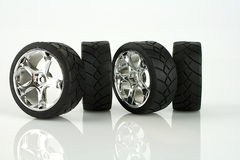 Tire. S with alloy wheels in chrome Stock Photo