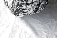 Tire trace. Braking tire trace on snow royalty free stock images