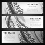 Tire track banners Stock Photo