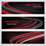 Tire track banners Royalty Free Stock Images