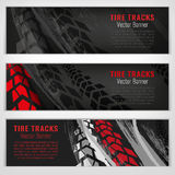 Tire track banners. Vector automotive banners template. Grunge tire tracks backgrounds for landscape poster, digital banner, flyer, booklet, brochure and web Stock Photo