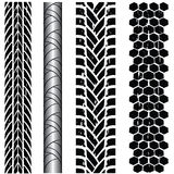 Tire track collection. Various grunge tire track collection vector illustration