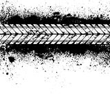 Tire track on ink blots. Spray paint blots with white tire track vector illustration