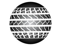 Tire track ob ball Royalty Free Stock Image