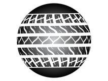 Tire track ob ball. Vector illustration Royalty Free Stock Image