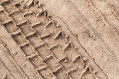 Tire track over wet sand Stock Photography
