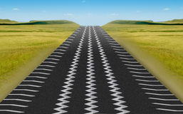 Tire Track road. High way road in Tire Track with blue sky stock illustration