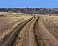Tire track and ruts in dirt road Royalty Free Stock Images