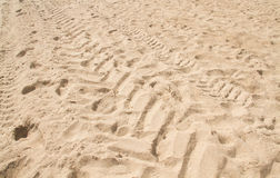 Tire track on the sand Stock Photography
