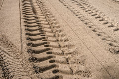 Tire track on sand road base Royalty Free Stock Images