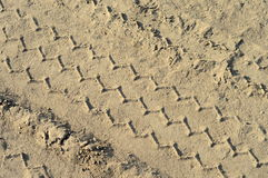 Tire track in a sand Royalty Free Stock Photos