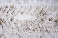 Tire track in snow Stock Images
