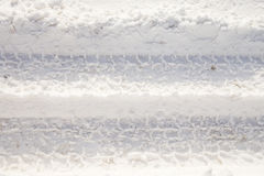 Tire Track in Snow Stock Image