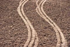 Tire tracks. Fresh tire tracks in the dirt stock photos