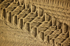 Tire Tracks. Tread pattern of a truck tire in soft sand stock images