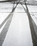 Tire Tracks 2. Two tire tracks in the white snow Royalty Free Stock Image