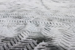 Tire Tracks. In snow in various different directions Royalty Free Stock Image