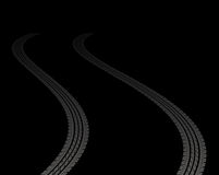 Tire tracks. Leading far away in darkness Royalty Free Stock Photo