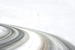 Tire Tracks. On the curve of the snow road Royalty Free Stock Images