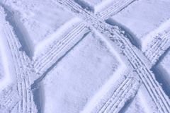 Tire Tracks. On Driveway Close-up Royalty Free Stock Image