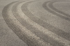 Tire tracks on asphalt Stock Image