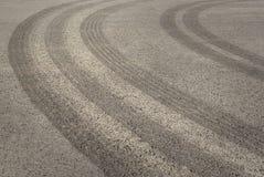 Tire tracks on asphalt Stock Image