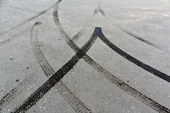 Tire tracks on asphalt. Stock Image