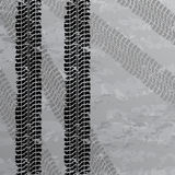 Tire tracks background. Set of four dirty tire tracks Stock Photography