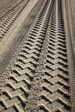 Tire tracks on a beach Royalty Free Stock Photography