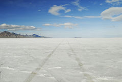 Tire tracks on Bonneville Salt Flats, Utah Royalty Free Stock Photography