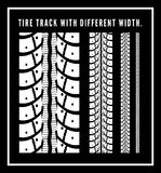 Tire tracks. Collection with different width. Vector illustration on black background Royalty Free Stock Photo