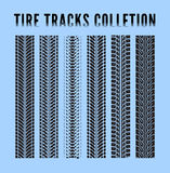 Tire tracks. Collection. Vector illustration blue background Stock Photography