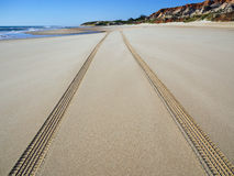Tire tracks. Detailed tire tracks on beach - Morro Branco beach - Ceara - Brazil Royalty Free Stock Photos
