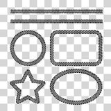 Tire tracks. Frame set. Vector illustration on checkered background Stock Photo