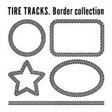 Tire tracks. Frame set. Vector illustration on white background Royalty Free Stock Photos