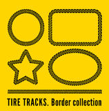 Tire tracks. Frame set. Vector illustration on yellow background Stock Image