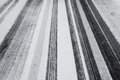 Tire Tracks In The Fresh Snow Royalty Free Stock Photos
