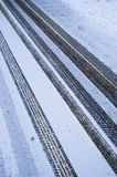 Tire Tracks In The Fresh Snow Royalty Free Stock Image
