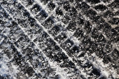 Tire tracks on the frozen snow, background Royalty Free Stock Images